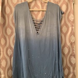"Ombre Blue/""Paint Splat"" Tank"